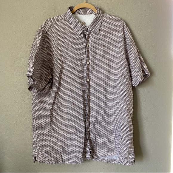 Tasso Elba Tan Orange Button Down Shirt XL